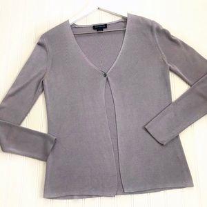 Ann Taylor 100% Silk Grey Cardigan Size 8